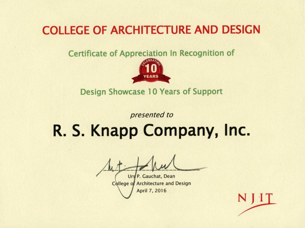 NJIT certificate of appreciation